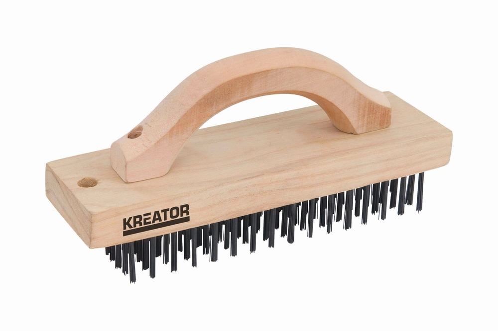 KRT561001 - Ruční drátěný ocelový kartáč 6-ti řadý, dřevěný