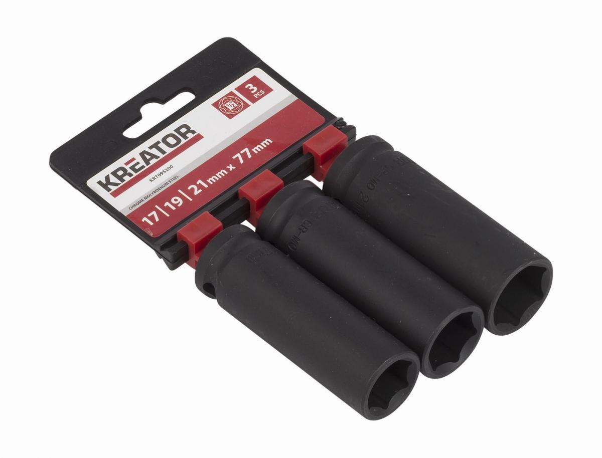 """KRT095200 - 3ks nástrčných hlavic 17-19-21mm prodloužené 1/2"""""""