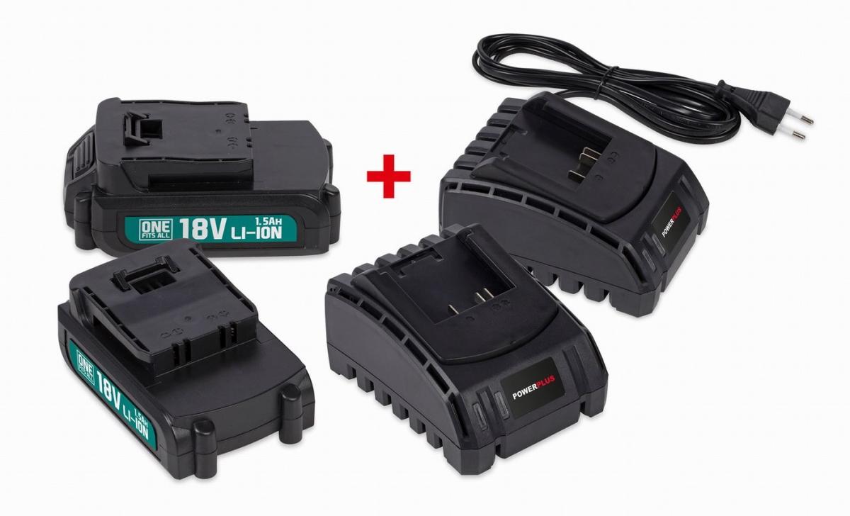POWEB9090 - Sada 2x baterie 18V LI-ION 1.5Ah  plus  2x nabíječka