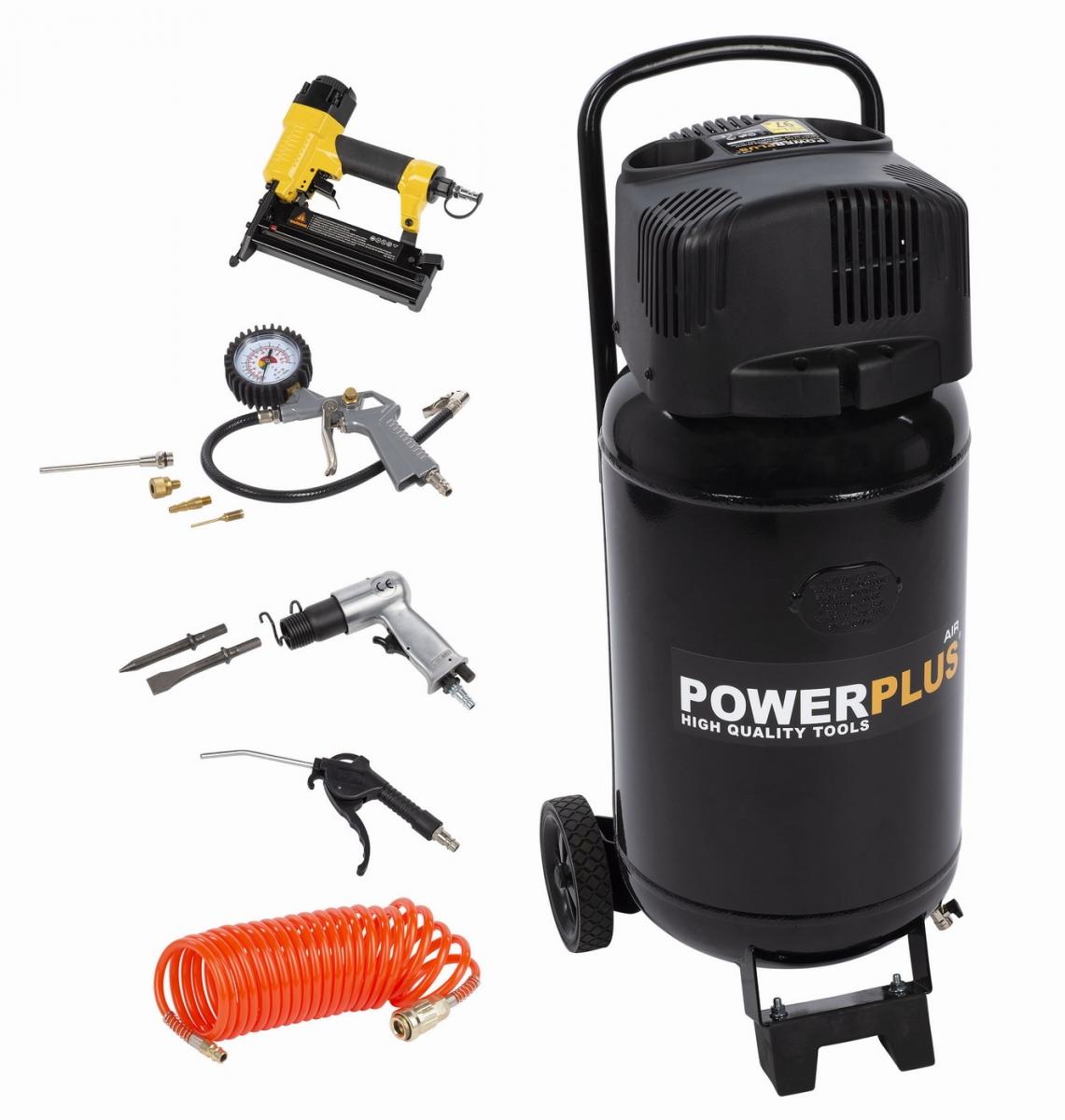 PowerPlus POWX1751 bezolejový kompresor 1100W 50L + 9 ks příslušenství