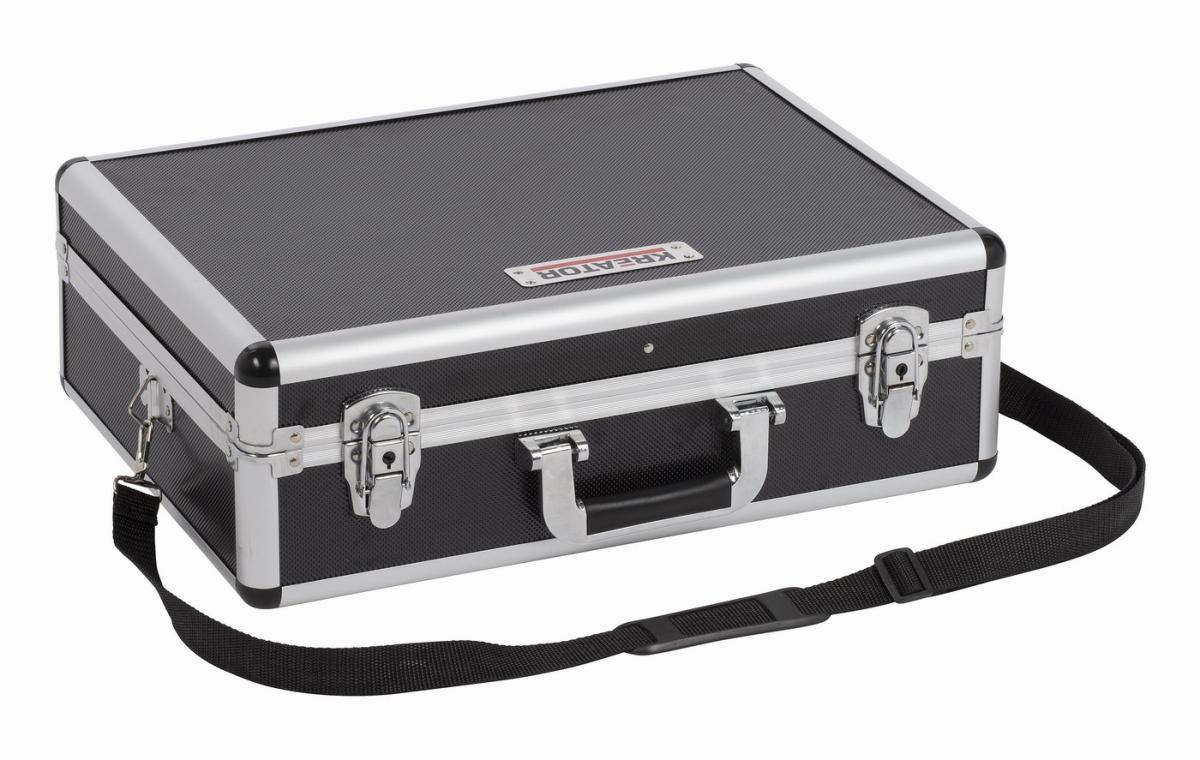 KRT640102B Hliníkový kufr 460x330x155mm černý KREATOR