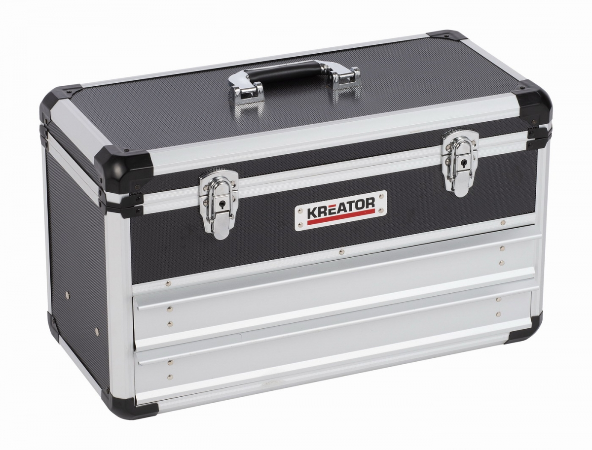 KRT640602B Hliníkový kufr 523x240x305mm 2 zásuvky KREATOR