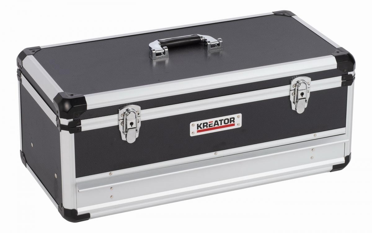 KRT640603B Hliníkový kufr 620x300x255mm 1 zásuvka KREATOR