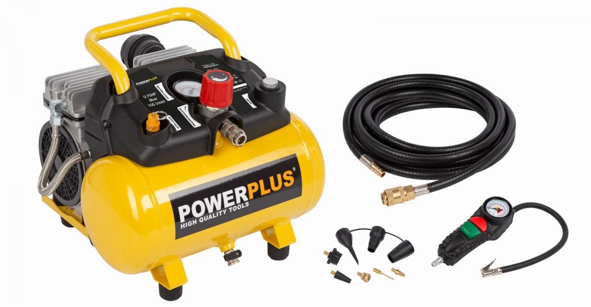 PowerPlus POWX1724S bezolejový kompresor SILENT 750W 6L + 10ks příslušenství