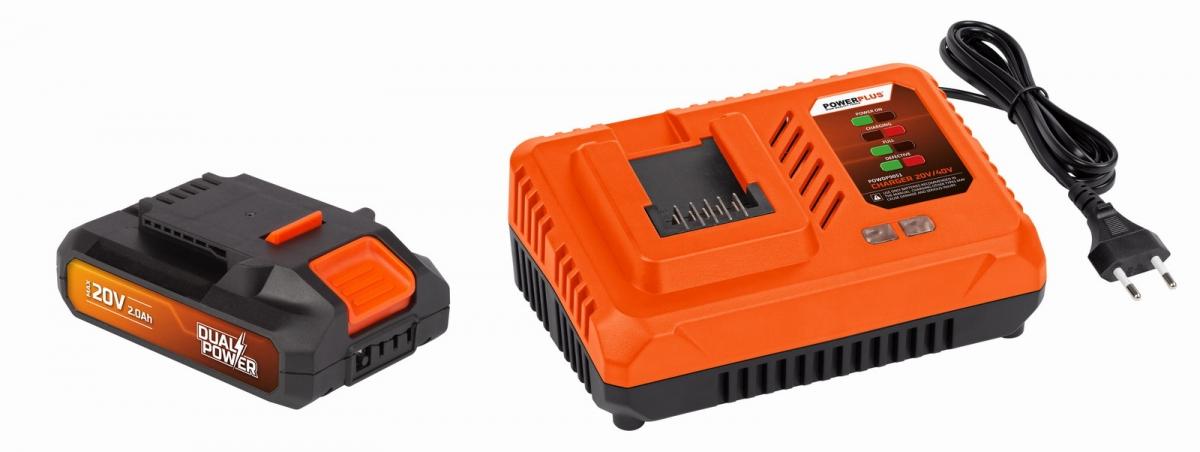 PowerPlus POWDP9062 Nabíječka 20V/40V + Baterie 20V LI-ION 2,0Ah